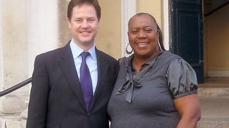 Pauline Pearce with leader Nick Clegg