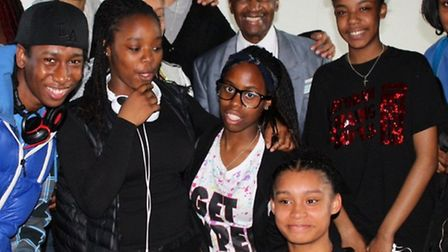Tap-dancing legend Steve Clark with members of the Hackney Youth Forum