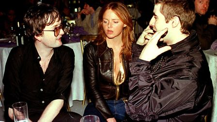 Oasis singer Liam Gallagher (right) talks with Pulp lead singer Jarvis Cocker and Stella McCartney a