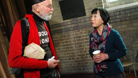 Police Station squatter Michael Dickinson talks to Cllr Linda Chung at the Hampstead Neighbourhood F