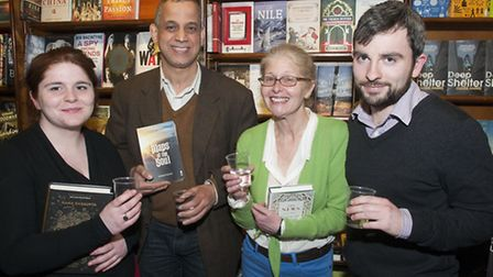 West End Lane Books staff Saskia Van Emden, Ghasson Fergiani (owner), Danny Van Emden and Jonathan A