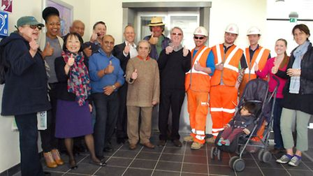 Celebrating the opening of the new lift at the refurbished Hampstead Heath Overground station. Pictu