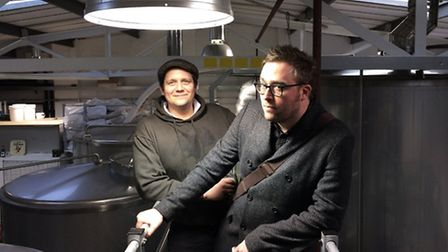 Danny Wallace, right, with head brewer Benedikt Ott, at Truman's Brewery in Stoke Newington