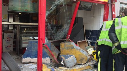 Best Kebab Shop was seriously damaged after a van drove into it yesterday