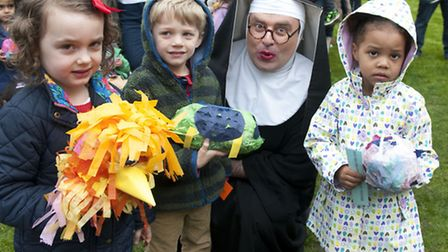 Easter Egg decorating and rolling at Lauderdale House.Winners with 'Sister Mary'. Picture: Nigel