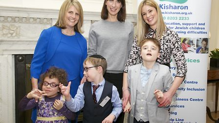 From left to right: Dr Beverley Jacobson, chief executive of Kisharon, Samantha Cameron and parent E