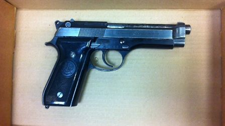 The semi-automatic pistol recovered by police