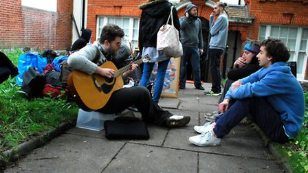 Squatters outside the former police station annexe. Picture: Polly Hancock