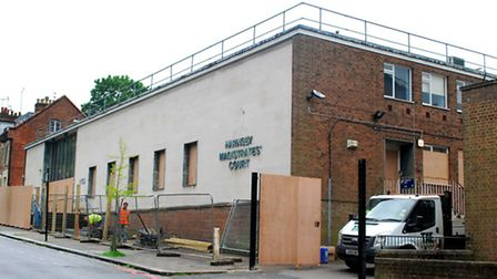 The former Haringey Magistrates Court being boarded up and fenced in. Picture: Polly Hancock