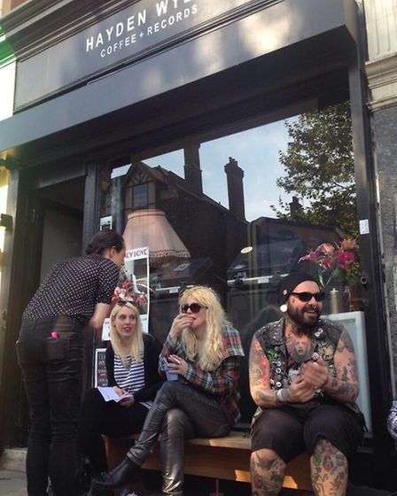 Courtney Love outside the record shop in Lower Clapton Road. Photo: Twitter