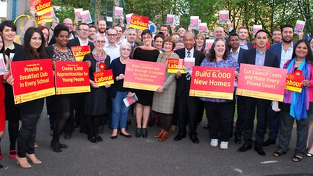 Camden Labour launch their 2014 election manifesto. Pictured front centre, Camden Council leader Sar