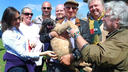Pictured is winner of the Cutest Pup catagory, David Sharpe with Nelson a 12-week-old Leonberger, co