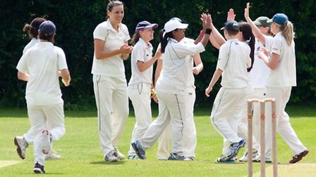 Hampstead's ladies celebrate a wicket. Pic: Tom Roberts