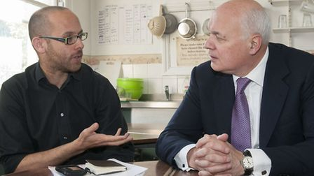 Iain Duncan Smith speaks to Paul Perkins. Picture: Nigel Sutton.