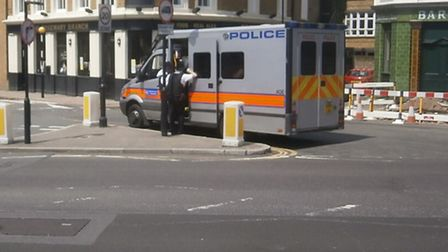 Riot police van parked up near Branch Place, case of any trouble. Photo Ian Shacklock, Friends of Re