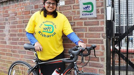 Miral Patani, a teacher at Kisharon Day School, with her bike. Picture: Dieter Perry.