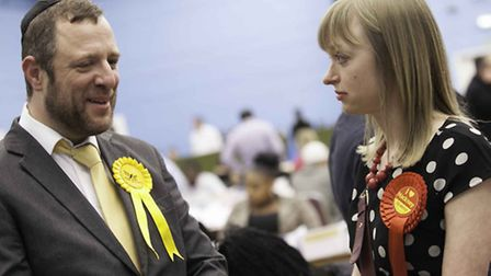 Lib Dem Abraham Jacobson and Labour whip Louisa Thompson, who were both re-elected. Photo by Gary M