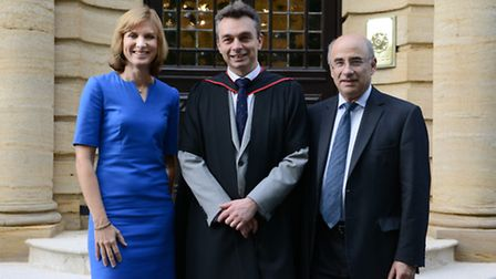 BBc newsreader Fiona Bruce with Lord Leveson and headteacher Mark Beard at the UCS prizegiving. Pict