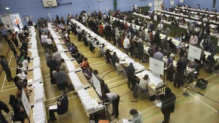 Counting took place in the Brittania Leisure Centre. Photo by Gary Manhine, Hackney Council.
