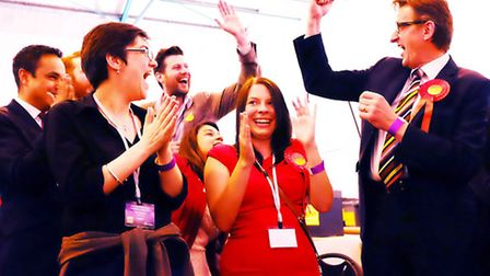 Camden Labour members celebrate victory at the election count. Picture: Dieter Perry.