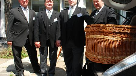 Funeral director Richard Putt, driver Tony Ryan, assistant Lee Ellis and deputy foreman Tony McMorro