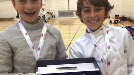 Camden Fencing Club's Kajetan McDonnell and Jean-Baptiste Baigneres, the winners of the Under-12 boy