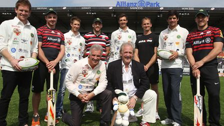 Top row (left to right): England cricketer Eoin Morgan, Saracens full-back Ben Ransom, Middlesex CCC