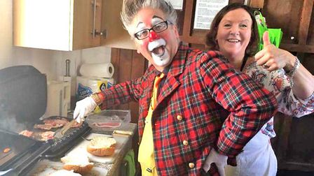 Andy the Clown helped with preparing the infamous bacon butties at the Pakefield Church Autumn Cafe.