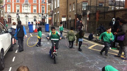The Play Streets session outside Princess May Primary School