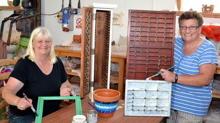 Sue Holland (seated) and Lesley Hood upcycling some items at the The Yard project in Lowestoft. Pict