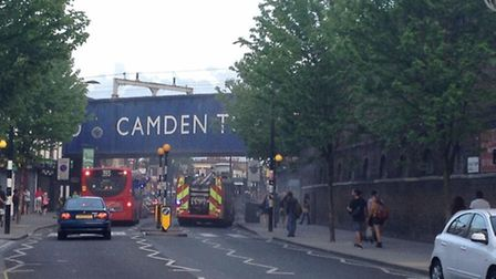 Fire engines at the scene in Chalk Farm Road, Camden Town. Picture: Twitter @isntdave