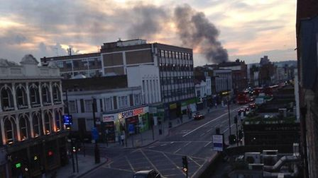 Firefighters said smoke from the Stables Market blaze could be seen from miles around. Picture: Twit