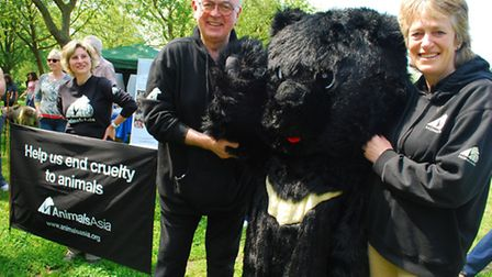 Animal lover and actor Peter Egan with Nicky Vyvyan-Robinson of charity Animals Asia at the start of