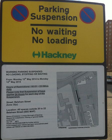 Council notifies resident of parking suspensions on May 11