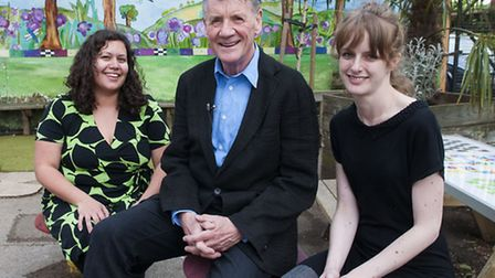 Michael Palin with Noella Bello Castro (left), parent governor, and Monika Rego, chair of Parents at