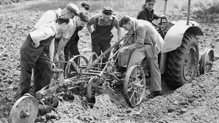 Conscientious objectors attending a course in mechanised agriculture