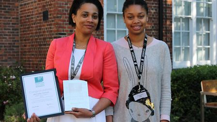 Michelle Fennell, head of humanities at Clapton Girls' Academy with the head girl Jamiah Okoye.