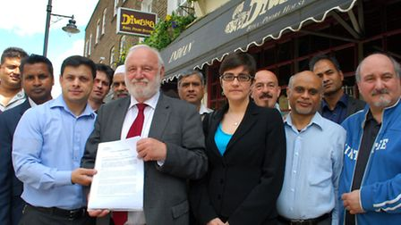 Frank Dobson MP and Cllr Sarah Hayward with Drummond Street traders who say they are under threat fr