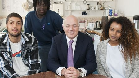 Project users (from left) Joseph Hinds, Emile Libock and Ruqiya Osman with Iain Duncan Smith. Pictur