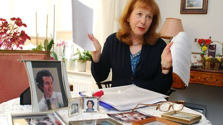 Erica Duggan with files relating to her campaign for justice. Picture: Polly Hancock.