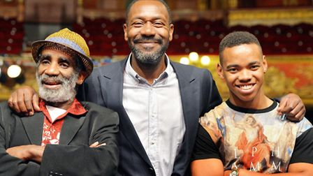(Left to right) Larrington Walker, Lenny Henry and Joivan Wade on the stage at the Hackney Empire in