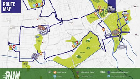 The route for the Run Hackney race.