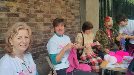 The knitters outside Abney Park cemetery.