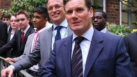 Guest speaker Sir Keir Starmer (far right) joins headteacher Sam White and students from Year 11 at