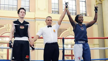 Oriance Lungu (right) celebrates her victory for host club Haringey ABC at the Haringey Box Cup. Pic