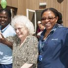94-year-old Vera Morris dancing with Nicole Irving and Vivien Goodnews at the first anniversary part