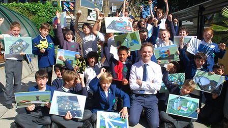 Year 6 boys at St Anthony's School with head of Art, Design and Technology Oliver Evelyn-Rahr. The b