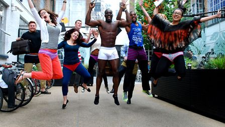 Staff at Highgate Studios take part in Wear Your Lucky Pants to Work Day. Picture: Polly Hancock.