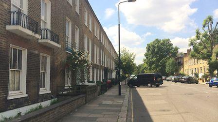 The boy fell from the window of a house in Marsden Street, Kentish Town, this morning
