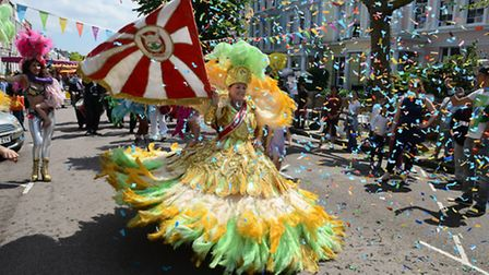 The Paraiso School of Samba, band and dancers open the fair. Picture: Mark Hakansson